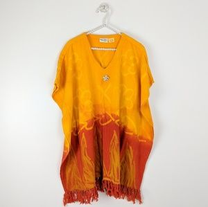 Vintage Belma Fringed Tie Dye Poncho Cover-up